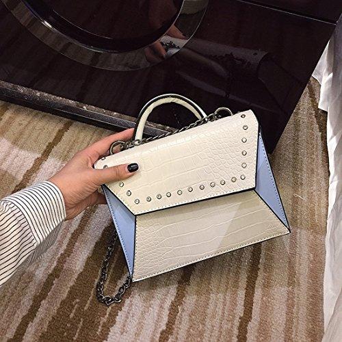 Weibliche Nieten Flip Kleine Quadratisches Paket Art und Weise Einfache Schulter Messenger Bag Weiß