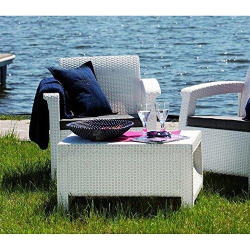 JUSTyou Corfu Sofa Couch Gartenbank + Tisch in Rattan-Optik Weiß Grau - 4