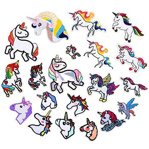 20 parches bordados unicornio lentejuelas coser planchar