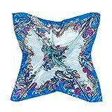 Bluelans® Damenschal Faux Seidenschal Seidentuch Blume Bandana Halstuch Kopftuch Schal 90 x 90 cm Bunte (Hellblau)