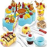 HenMerry DIY Schneiden Geburtstagskuchen Küche Essen Spielzeug Mädchen Geschenk Für Kinder 75 STÜCKE (Blau)