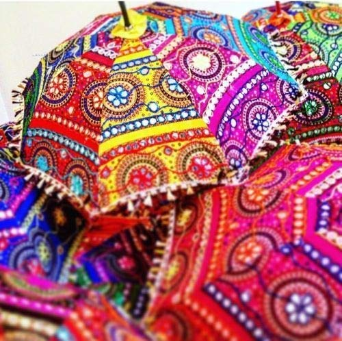 Real Online indische handgefertigte Designer Baumwolle Mode Mehrfarbig Stickerei Boho Schirme Sonnenschirm 10 Stück Lot