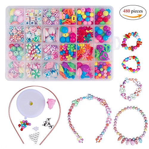 Perles pour Enfants,DIY Perles Plastique Coloré 24 Compartiments Kit De Loisirs Créatifs Latelier De Bijoux Fabrication de Bracelet Collier en PVC Box comme cadeau pour les enfants filles 480 pièc