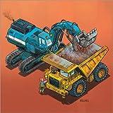Posterlounge Leinwandbild 50 x 50 cm: Bagger und LKW von Helmut Kollars - fertiges Wandbild, Bild auf Keilrahmen, Fertigbild auf Echter Leinwand, Leinwanddruck