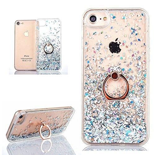 Hancda Flüssig Handyhülle für iPhone 8 / iPhone 7, Schutzhülle Case Glitzer Flüssig Hülle Durchsichtig Transparent Hart Silikon Cover mit Ring Ständer Fingerhalterung für iPhone 8/iPhone 7-Silber -