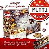 Beste Mutti der Welt | Knabbereien Weihnachtskalender | 24 Türchen mit typischen Knusper Artikeln | weihnachtlich verpackt mit Knusper