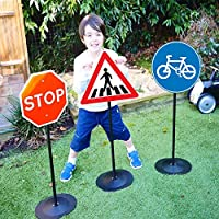 The Magic Toy Shop Road Safety Signs or Traffic Signal & Crosswalk Lights Set Kids Educational Pretend Play (Road Signs)