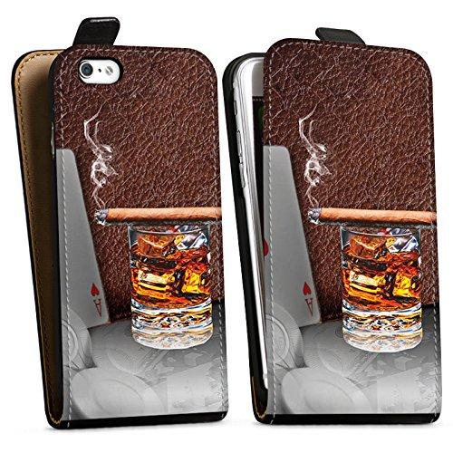 Apple iPhone X Silikon Hülle Case Schutzhülle Zigarre Whiskey Karten Downflip Tasche schwarz