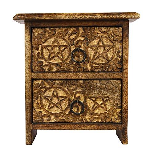 Holzkiste Brust mit 2 Schubladen Pentagramm Design geschnitzt Schmuck Keepsake Box Storage Organizer - Antik-look Holz Geschnitzt