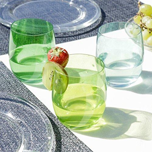 Set von 6Komplimente Sommer Botanical Farbe Gläser von Blau und Grün, und genießen das ideale Zubehör für eine kühlende Getränke diesen Sommer. H10x 7cm