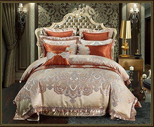 JYTT Komfort-räume Queen Size Bett tröster, Gold Schönheit tiancheng 10 stück Bettzeug 100% Baumwollsatin Schlafzimmer bettdecken-A King - Gold Queen Tröster