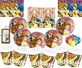 Disney Die Schöne und Das Biest Party Dekoration Geschirr Teller Tassen Servietten Tischdecke Kostenlose Luftballons Freier Messing Bilderrahmen-16 Gäste