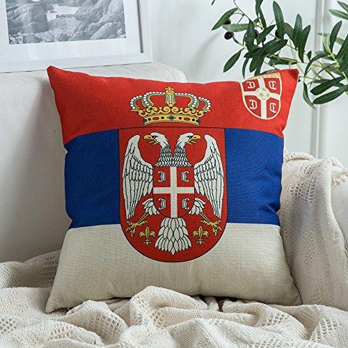 Miulee world cup cuscino federe cuscini gettare coppa del mondo fifa cuscino decorativo per divano letto auto microfibra con cerniera invisibile 45 * 45cm serbia