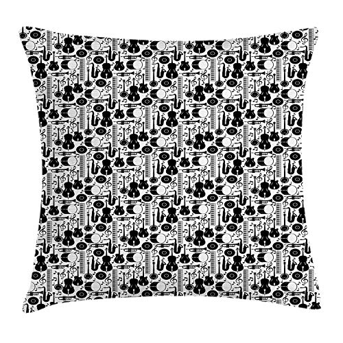 Jazz Throw Pillow Cushion Cover, Silhouette of Musical Instruments Trumpet Saxophone Guitar Drum and Keyboard, Decorative Square Accent Pillow Case, 18 X 18 Inches, Black and White (Toile Boudoir)
