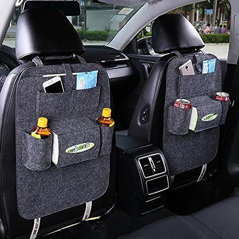 Inebiz Feutre Organiseur pour siège arrière de voiture, Multipurpose Utilisation comme Auto Siège de protection dorsale, Tapis de Kick, organiseur de voiture