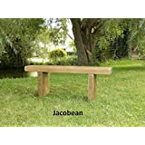 kowoodworks Chunky Rustic Solid Pine Garden Bench Seat Wooden Chair Jacobean 3 feet