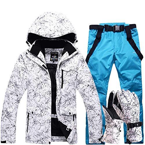 FuweiEncore Hombres, Damas, Parejas Chaquetas de esquí Impresas a Prueba de Viento, a Prueba de Viento Pantalones de esquí Conjunto Chaqueta de Snow Coat (Color : Lake Blue, tamaño : XL)