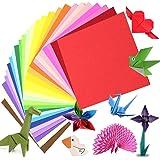 Papier origami 200 feuilles, papier origami recto-verso papier de papier kraft coloré pour enfants adultes, 15 x 15 cm/6 pouc