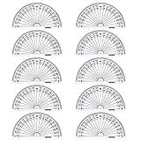 Outus Rapporteur en Plastique pour Mesure de l'Angle 180 Degrés, 4 Pouces, Transparent, 10 Pack