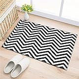 LB Badezimmer Teppiche rutschfeste saugfähige Badematten weichen Duschvorleger (60 * 40 cm) Schwarze und weiße Streifen
