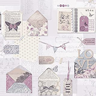 Arthouse PS I Love You Wallpaper, Lilac, 53 cm x 10.05 m