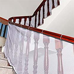 Amknn Children Safety Banister Stair Mesh Net Baby Fall Protection Safety Net Durable Weatherproof Adjustable Balcony/Stair Railing Safety Net for Kids Pet Toy Safety, Indoor and Outdoor Stairs Balcony or Patios (2M, Gray)