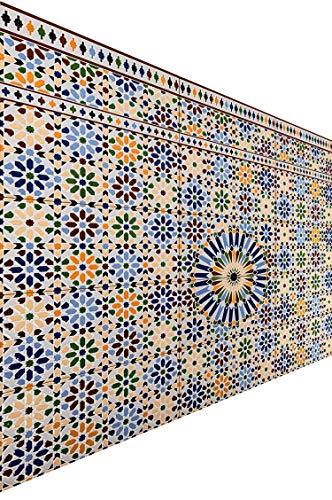 Marokkanische Fliesen Wandfliesen bunt 2 Stk Muster 7 | Orientalische Fliese als Wanddekoration im Bad oder Küchenrückwand | Bunte Mosaikfliesen Design als Deko für die Wand im Badezimmer Küche