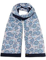 Mailando Damen Schal aus reiner Baumwolle und Seide, blau - rosa
