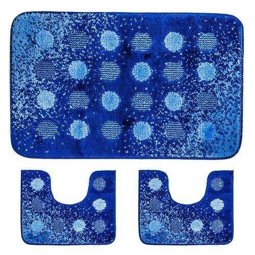 Teppich Badezimmer 3 Stück Schaumbad Blau / Blau Mit App C & B (Schaumbad Blaues)