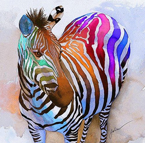 Y&J Colored Zebra Moderne Leinwand Drucken, Besonders Geformte Abstrakt Pferd, Tiere Wand Kunst, Moderne, Home Decor, Galerie Verpackt 61x 91,4cm (Zebra-print-leinwand-wand-kunst)