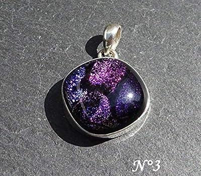 Pendentif charm en argent massif 925 avec verre dichroïque aux couleurs chatoyantes, pendentif unique