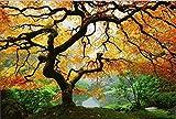 Startonight Leinwand Wand Kunst Herbst Ahorn, Doppelansicht Überraschung Modernes Dekor Kunstwerk Gerahmte Wand Kunst 100% Ursprüngliche Fertig zum Aufhängen 80 x 120 CM