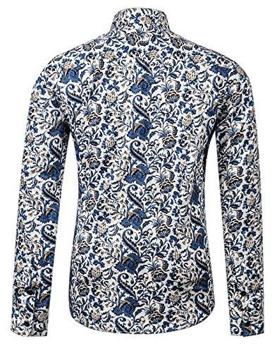 APTRO Herren Fashion Baumwolle Mehrfarbig Luxuriös Blumen Langarm Shirt Größe S-XXXL