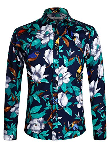 APTRO Herren Freizeit Baumwolle Blumen Mehrfarbig Luxuriös Langarm Shirt 1006 Blau XXL (70 Jahre Mode Für Männer)