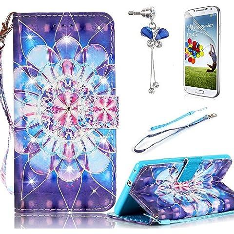 para Samsung Galaxy S7 SM-G930F /SM-G9300 Funda Libro PU Leather Cuero Suave Case - Sunroyal® Carcasa Con Flip Case Cover, ,Cierre Magnético,Función de Soporte,Billetera con Tapa para Tarjetas - Diseño de el Flores Loto Azul +1x el Rhinestone Enchufe Anti del Polvo +1x Protector de Pantalla