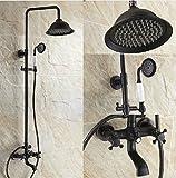 Gowe Ausgesetzt Badezimmer Rainfall Dusche Wasserhahn Set Badewanne Armatur Öl eingerieben Bronze