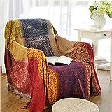 YQ WHJB Sofa slipcovers 1-teilig,Caterpillar Voll-bedecktes Handtuch Nordische Staubdichte Couch Sofa Decke Ethno-Stil Möbel-Protector für 1 2 3 Kissen Sofa Staubschutz-A 220x260cm(87x102inch)