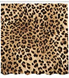 VVIANS Leopard Print Shower Curtain, Skin Pattern of a Wild African Safari Animal Powerful Panthera Big Cat, Cloth Fabric Bathroom Decor Set with Hooks, 60 * 72 inch, Pale Brown Black