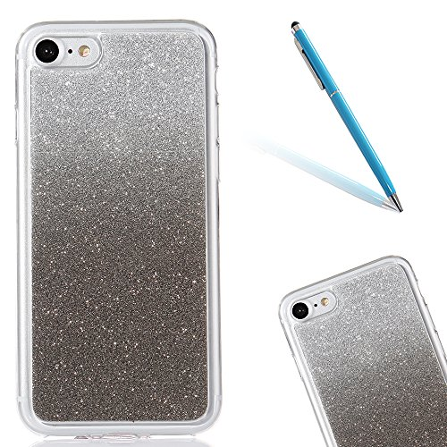 Clear Matte Crystal Rubber Protettivo Case Skin per Apple iPhone 7 4.7, CLTPY Moda Brillantini Glitter Sparkle Lustro Progettare Protezione Ultra Sottile Leggero Cover per iPhone 7 + 1x Stilo - Purpl Nero
