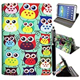 Kamal Star® Universal Premium Quality PU Leather 360 Stand Case Cover Fits All Android Tablets devices + Stylus (UNIVERSAL 10.0'' INCH, Design 01 Multi Owl 360)