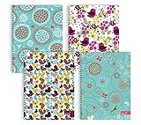 Silvine A4 Notebook a fili doppi, cuori assortiti e motivi floreali - 1 pezzo