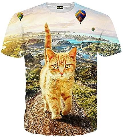 Pizoff Mens Womens Casual Short Sleeve Crew Neck 3D Digital Funny Front Cat Print T Shirts Summer Tops
