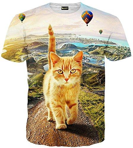 Pizoff Unisex Digital Print Schmale Passform summer cool bequem T Shirts mit Katzen Cat Heißluft Ballon 3D Muster, C7058-09, Gr. L(EU-M)