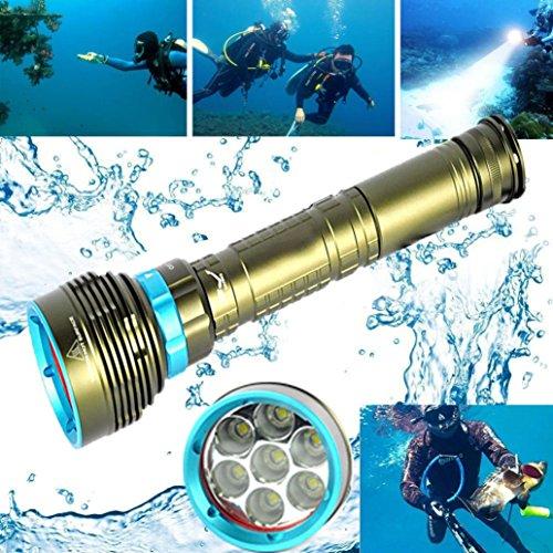 Mitlfuny Unterwasser 200m 20000LM 7x XM-L2 LED Tauchen Taschenlampe 3X18650 / 26650 Taschenlampe ideal für Camping, Wandern und Spaziergang mit Hunde (Green)