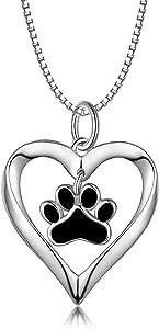 LONAGO - Collana in argento Sterling 925 a forma di cuore con cucciolo di cane, gatto, animale domestico, con ciondolo a forma di zampa, regalo per donne e ragazze