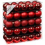 50 Christbaumkugeln ø5cm aus robustem Kunststoff von Inge Glas® - Red-Mix Rot - bruchfest / bruchsicher