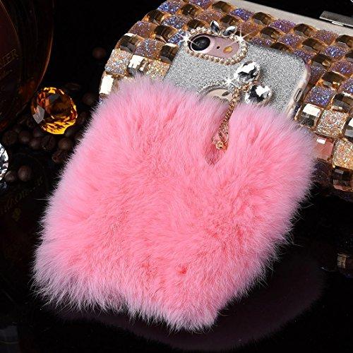 iPhone Case Cover Pour iPhone 7 Genuine lapin cheveux diamant Encrusted Flash Poudre Soft TPU étui de protection ( Color : Purple ) Pink