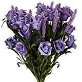SOLEDI 9 Heads Roll Heart Roses lavender Foam Flower Arrangement Artificial Fake Bouquet Wedding Home Garden Decor - 5 Bundles(45 flowers) (Purple)
