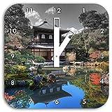 Ginkaku-ji-Tempel in Kyoto B&W Detail, Wanduhr Durchmesser 28cm mit weißen eckigen Zeigern und Ziffernblatt, Dekoartikel, Designuhr, Aluverbund sehr schön für Wohnzimmer, Kinderzimmer, Arbeitszimmer