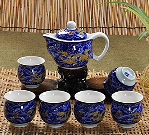 Jaune chinois Blue Dragon Bone China 7 pièces à thé